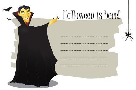 vlad: Cartoon illustration of Dracula on a card Illustration