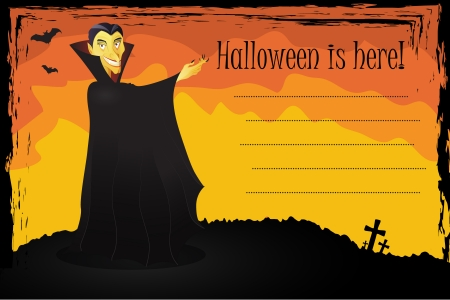 vlad: Cartoon illustration of Dracula on a Halloween card
