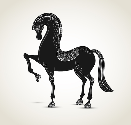Horse with ornaments, zodiac sign, vector Vector