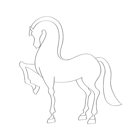 racehorse: Outline silhouette Illustration of a horse