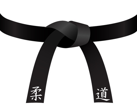 Black judo belt isolated on white  Çizim