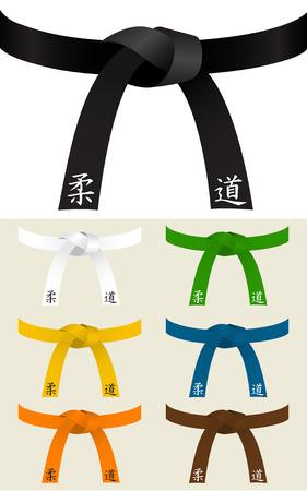 柔道または他の武道のベルトのコレクション