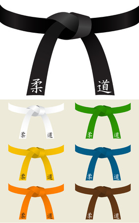green and black: Collection of Judo or other martial art belts Illustration
