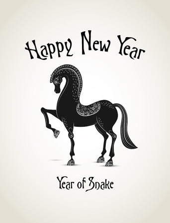 New Year card with horse representing a year of horse Vector