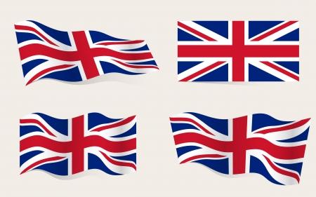 bandera de gran bretaña: Colección de banderas americanas en movimiento en el viento en el vector