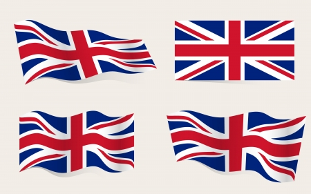 union jack flag: Collection of american flags moving in the wind in vector