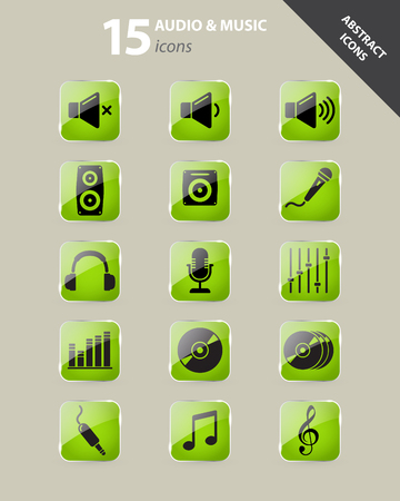 laud: Collection of green audio and music icons under glass