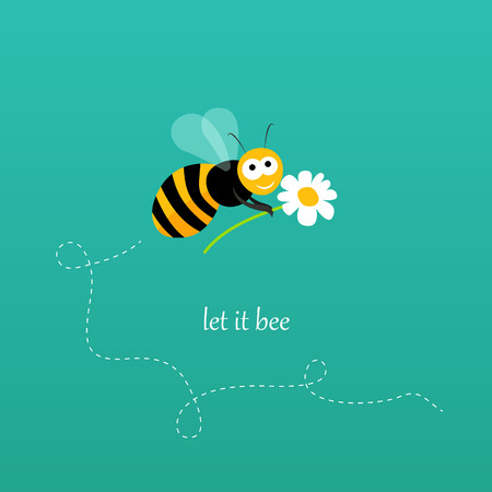 Apology card with a bee holding a flower in vector Vector