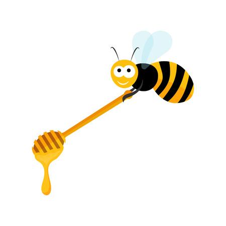 Cute bee carrying a wooden honey spoon in vector   Vector