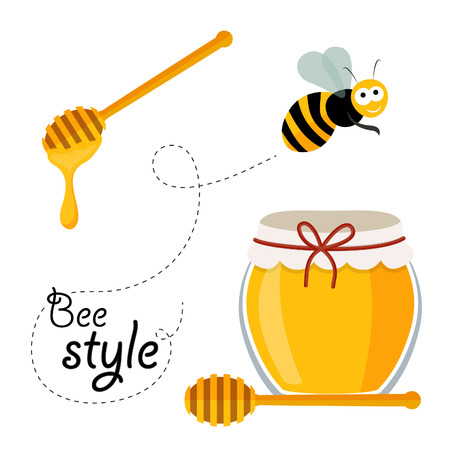 Collection of honey related graphics consisting of bee, honey spoon and honey in glass Vector