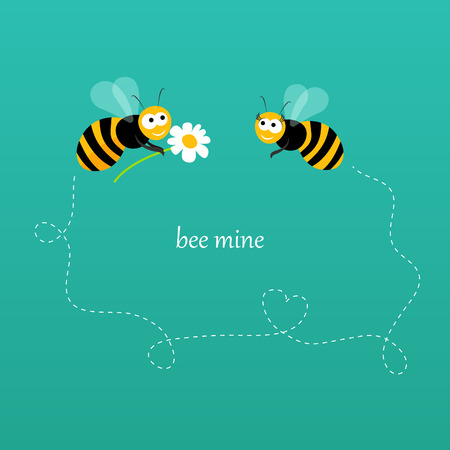 A card with two bees in love in vector Vector