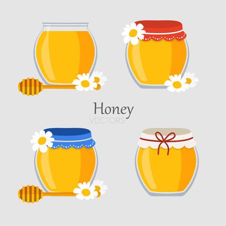 Collecties van de potten met honing in vector Vector Illustratie