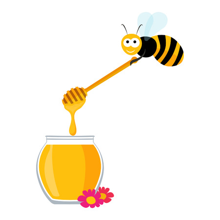 Vector graphics with a cute bee carrying a wooden honey spoon and a jar of honey Vector