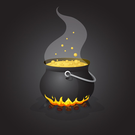 boiling pot: Halloween pot with boiling liquid on fire