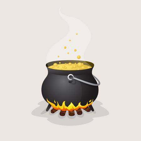 ebullition: Pot Halloween avec un liquide bouillant sur le feu Illustration