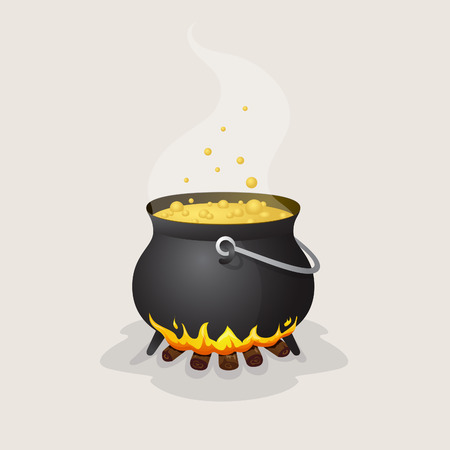 Halloween pot with boiling liquid on fire