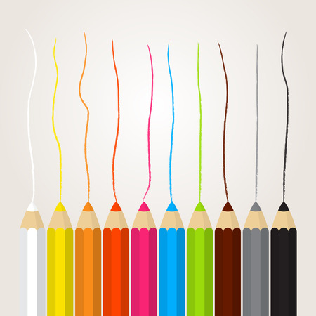 drawed: Collection of colored pencils with a drawed line Illustration