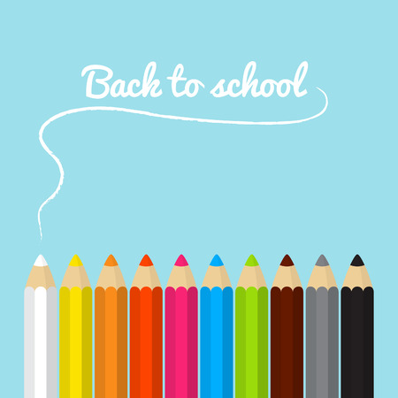 Back to school card with colored pencils in vector Vector