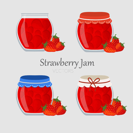 puree: Collections of jars with strawberry marmalade with different cap Illustration