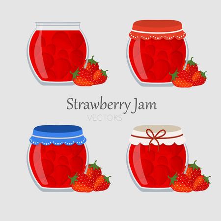 퓌레: Collections of jars with strawberry marmalade with different cap 일러스트