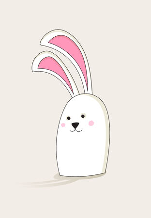 aside: Simple white Easter bunny with pink ears looking aside