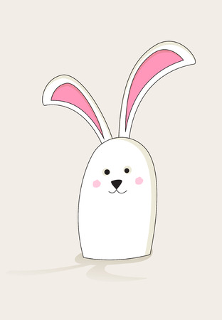 lurk: Simple white Easter bunny with pink ears