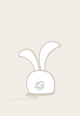 gift behind back: Simple Easter bunny character sitting turned back Illustration