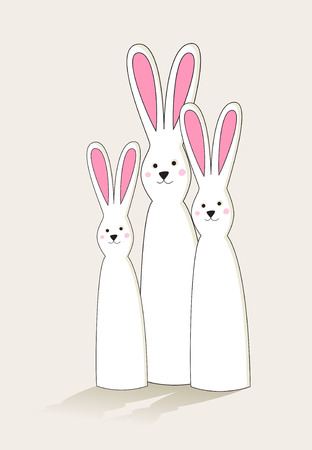 facing: Group of simple tall white Easter bunnies with pink ears
