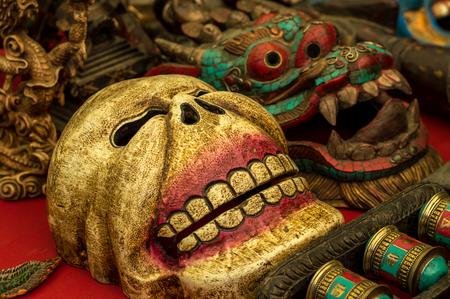 rituals: Variety of grinning Buddhist ritual masks