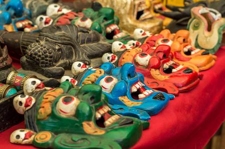 wrathful: Variety of demonic Buddhist ritual masks Stock Photo
