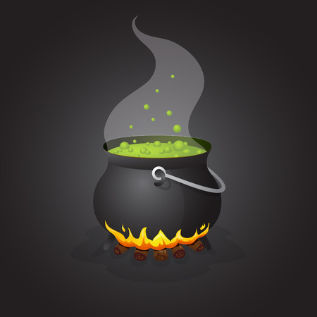 boiling: Halloween pot with boiling liquid on fire