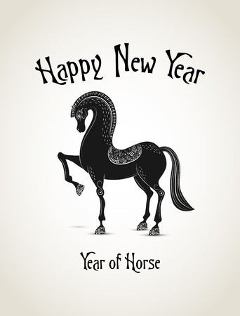 New Year card with horse representing a year of horse photo
