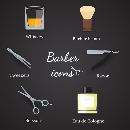 shave: Collection of barber related icons including scissors, tweezers, razor, barber brush and more. In flat design, in vector