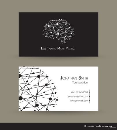 frame less: Technology business cards with Less talking, more making motto in black and white, in vector
