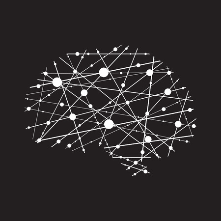 analytical: Abstract illustration of a human brain in vector