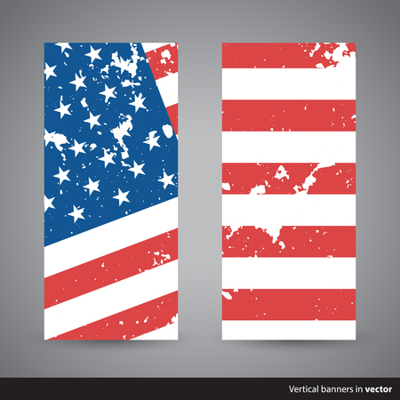 country side: Set of retro vertical Independence Day banners with American flag