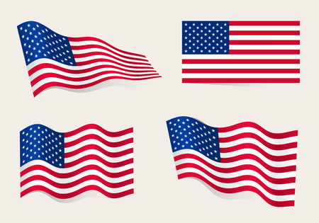 Collection of american flags moving in the wind in vector