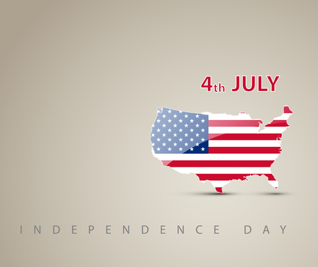 usa flags: Independence day card with map of America decorated as an american flag
