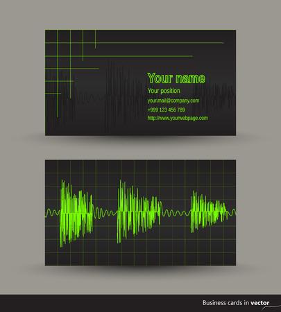 音楽ビジネス カード オーディオ波形、前面と裏面、ベクトル、EPS 10