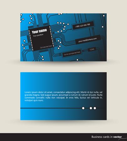 logica: TI visitar tarjetas hechas de circuitos lógicos, parte delantera y trasera, vector, EPS 10 Vectores