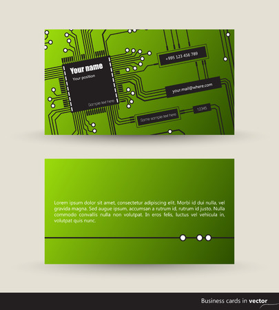visit card: IT visit cards made of logic circuits, front and back side, vector, EPS 10