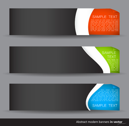curled corner: Set of dark colorful horizontal banners on a dark background with curled corner