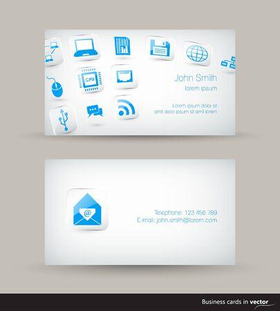 icono computadora: La tecnología de tarjetas de visita de negocios con los iconos que vuelan sobre fondo claro en el vector Vectores