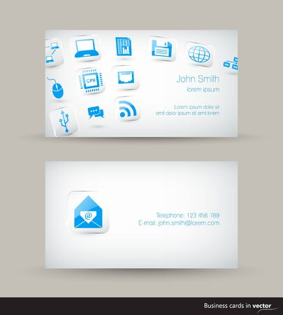 computer programmer: Technology business visit card with flying icons on light background in vector
