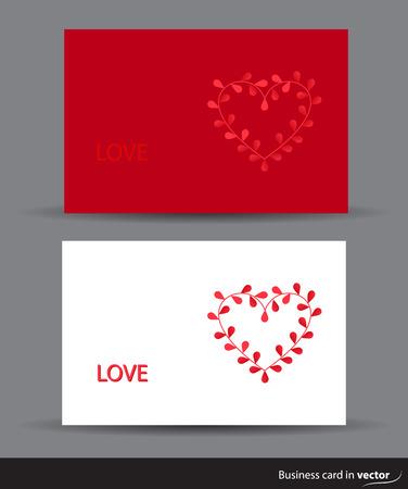 rectangulo: tarjetas de San Valentín con el corazón hecho de hojas de vectores