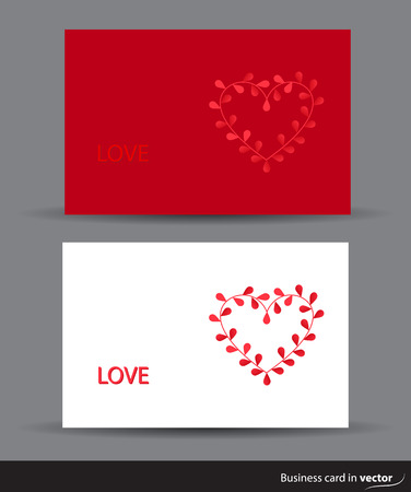 rectangulo: Valentine cards with heart made of leaves vector