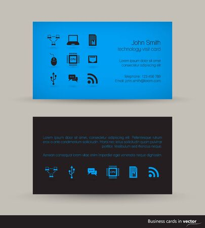 black blue: Technology business visit card with flying icons on light background in vector