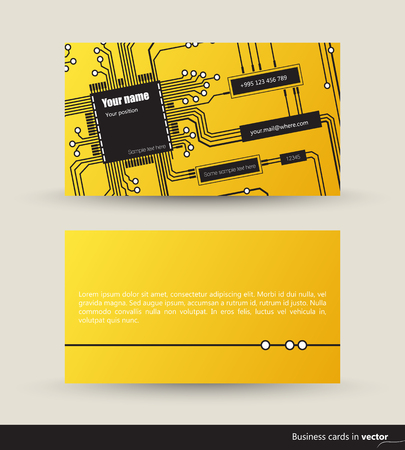 logic: IT visit cards made of logic circuits, front and back side, vector, EPS 10