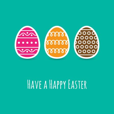 wishing card: Simple Easter wishing card with eggs in flat design in vector Illustration