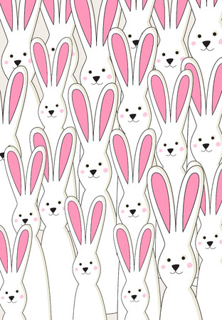 facing: Group of simple tall white Easter bunnies with pink ears covering whole card. In vector. Illustration